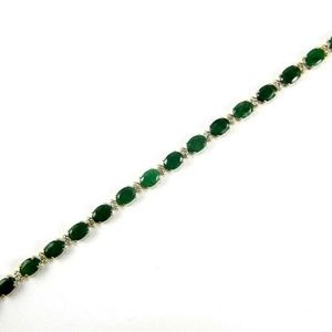 Jewelry - Emerald & Diamond Tennis Bracelet 14K YG 13.85Ct